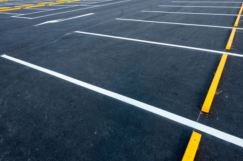 parking lot with pavement sealcoating