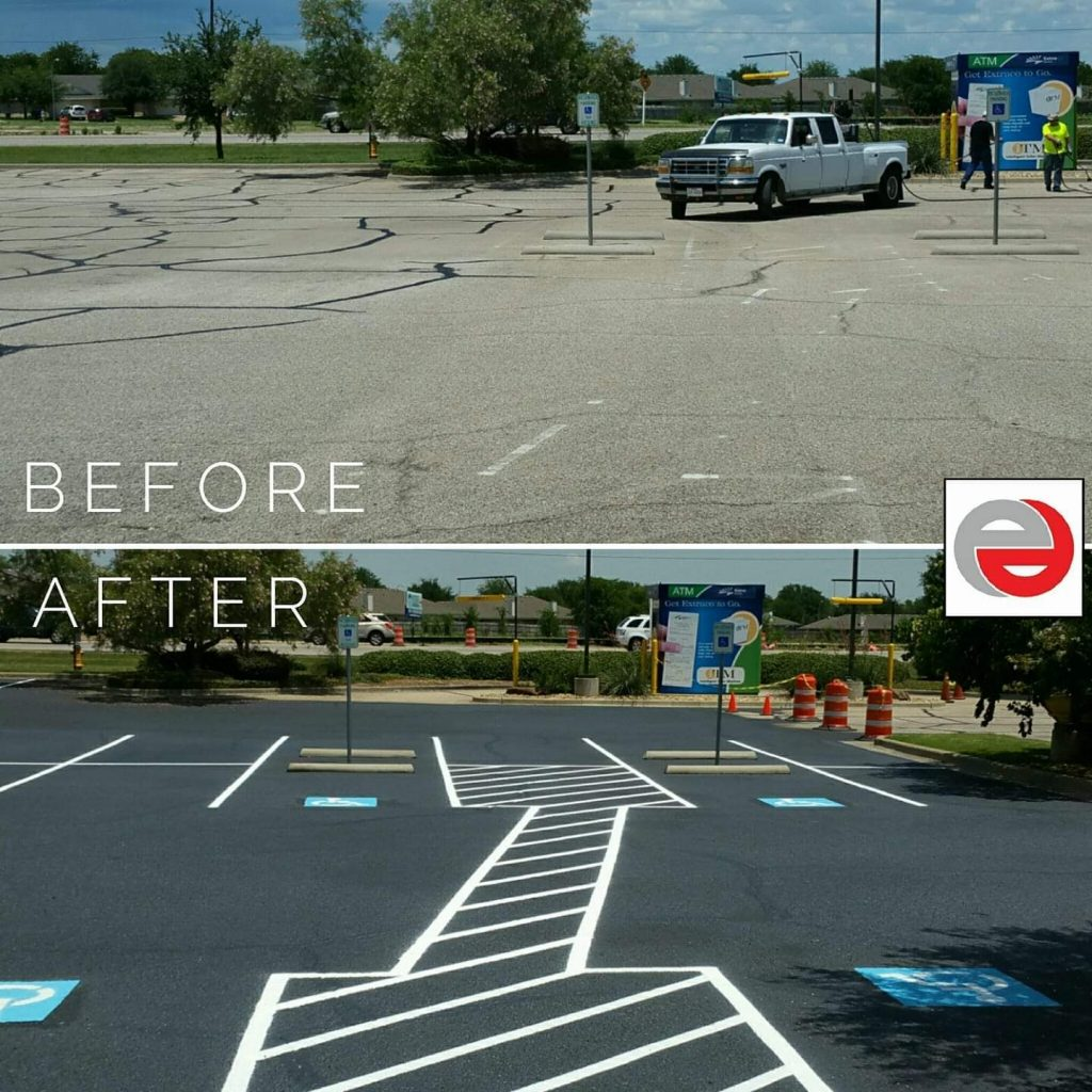 Before and After of Parking Lot Striping Project