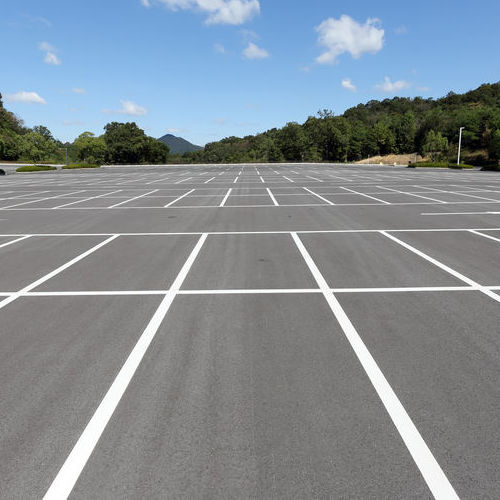 parking lot with clear striping