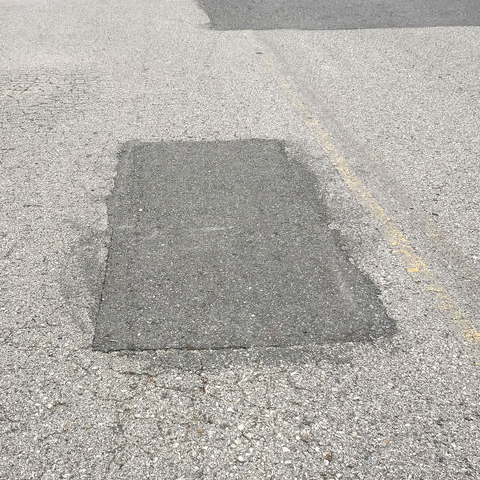 A patch over a pothole