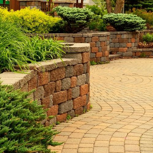 A Picture of a Retaining Wall with Landscaping.